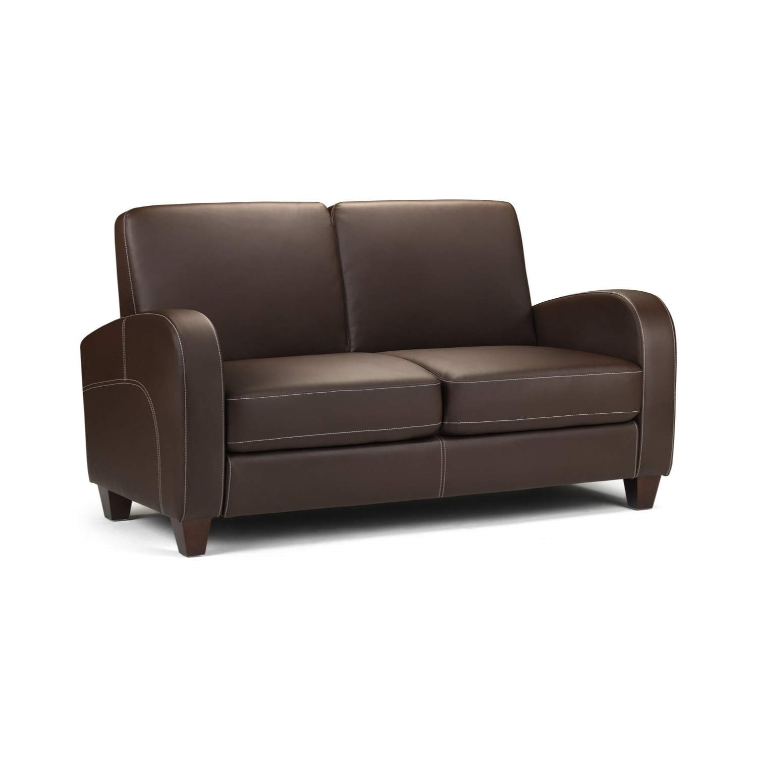 Brown Sofa in  Faux Leather 2 Seater - Julian Bowen