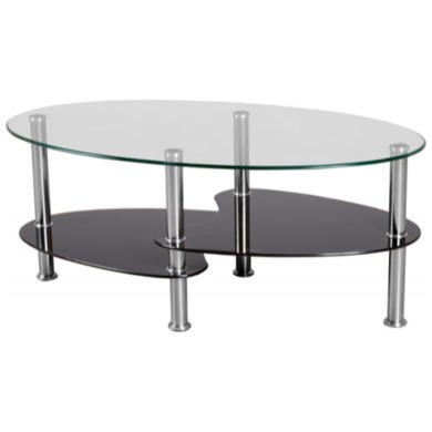 Cara Coffee Table In Clear And Black Glass Furniture123