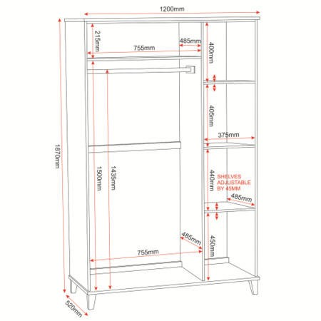 Seconique Arcadia Ash 3 Door Wardrobe