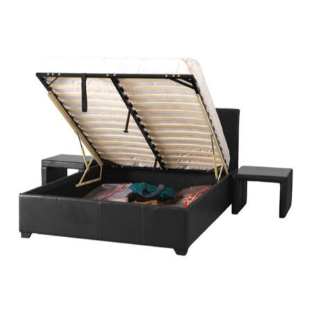 Seconique Prado Plus Upholstered Double Storage Bed in Black