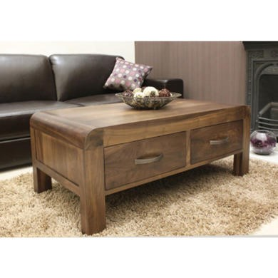 Baumhaus Shiro Solid Walnut Storage Rectangular Coffee Table