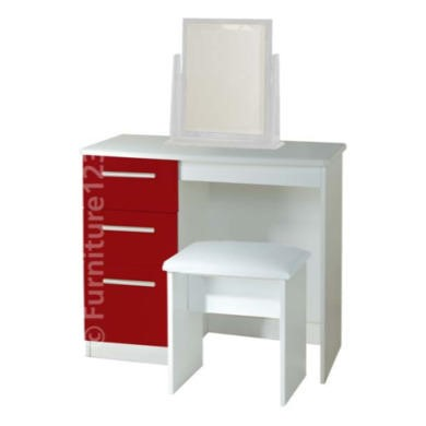 Welcome Furniture Hatherley High Gloss Small Dressing Table in White and Red