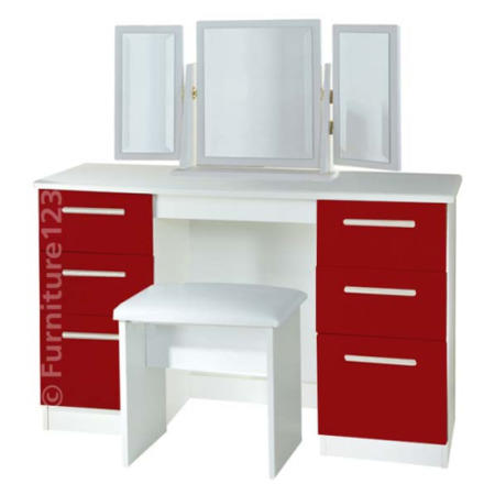 eba2a3def2d6 Welcome Furniture Hatherley High Gloss Large Dressing Table in White ...