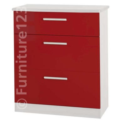 Welcome Furniture Hatherley High Gloss 3 Drawer Chest in White and Red