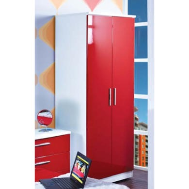 Welcome Furniture Hatherley High Gloss 2 Door Wardrobe in White and Red