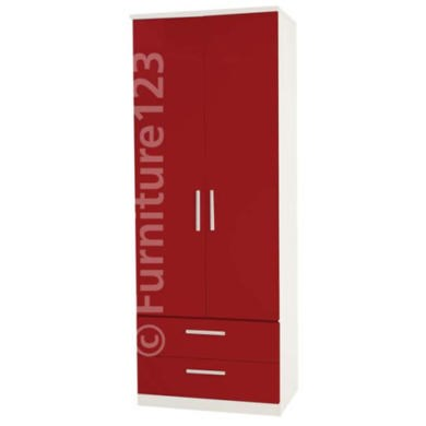 Welcome Furniture Hatherley High Gloss 2 Drawer 2 Door Wardrobe in White and Red