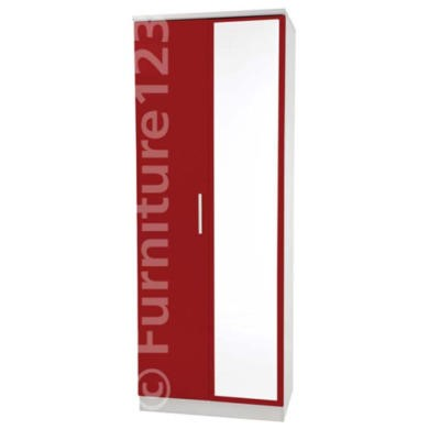 Welcome Furniture Hatherley High Gloss 2 Door Mirrored Wardrobe in White and Red