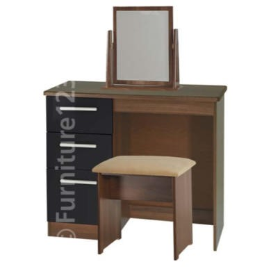 Welcome Furniture Hatherley High Gloss Small Dressing Table in Walnut and Black