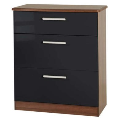 Welcome Furniture Hatherley High Gloss 3 Drawer Chest in Walnut and Black
