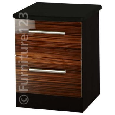 Welcome Furniture Hatherley High Gloss 2 Drawer Bedside Chest in Black and Ebony