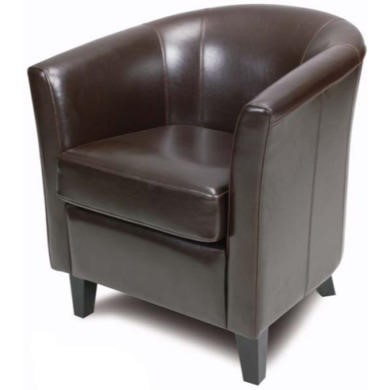 Relaxateeze Victor Leather Faced Tub Chair in Chestnut