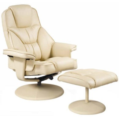 Relaxateeze Marcus Swivel Recliner and Footstool in Cream