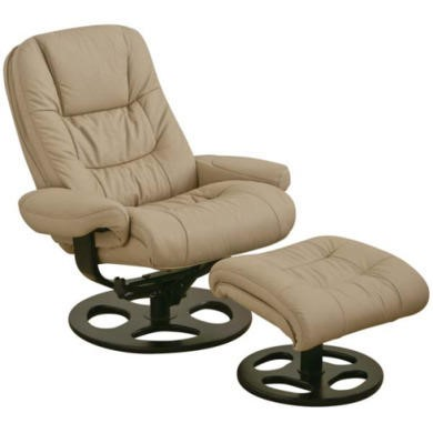 Relaxateeze Jaydan Swivel Recliner with Footstool in Taupe