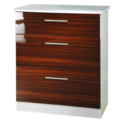 Welcome Furniture Hatherley High Gloss 3 Drawer Chest in White and Ebony