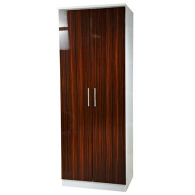 Welcome Furniture Hatherley High Gloss 2 Door Wardrobe in White and Ebony