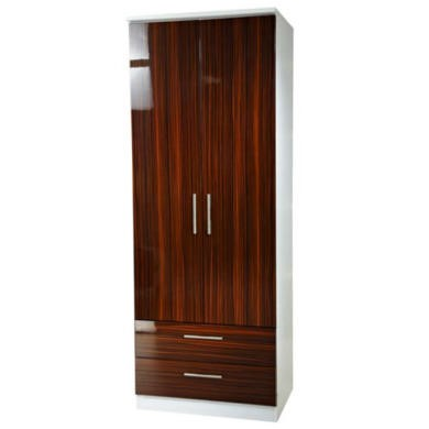 Welcome Furniture Hatherley High Gloss 2 Drawer 2 Door Wardrobe in White and Ebony