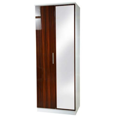 Welcome Furniture Hatherley High Gloss 2 Door Mirrored Wardrobe in White and Ebony