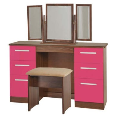 Welcome Furniture Hatherley High Gloss Large Dressing Table in Walnut and Pink