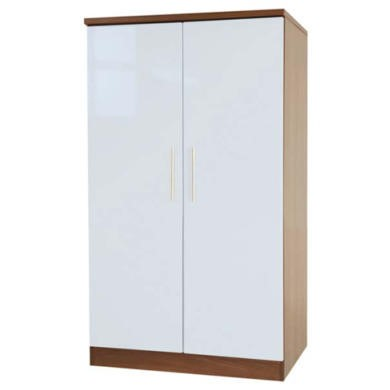 Welcome Furniture Hatherley High Gloss 2 Door Low Wardrobe in Walnut and White