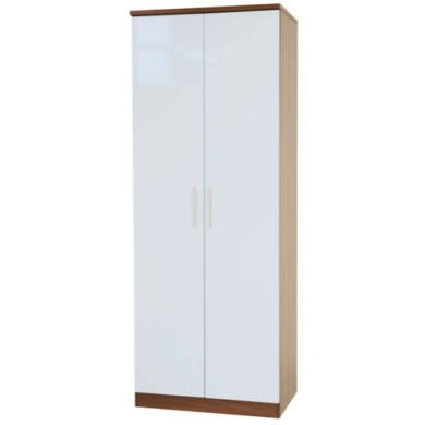 Welcome Furniture Hatherley High Gloss 2 Door Wardrobe in Walnut and White