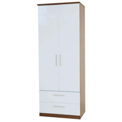 Welcome Furniture Hatherley High Gloss 2 Drawer 2 Door Wardrobe in Walnut and White