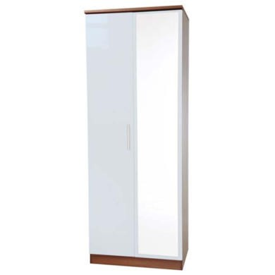 Welcome Furniture Hatherley High Gloss 2 Door Mirrored Wardrobe in Walnut and White