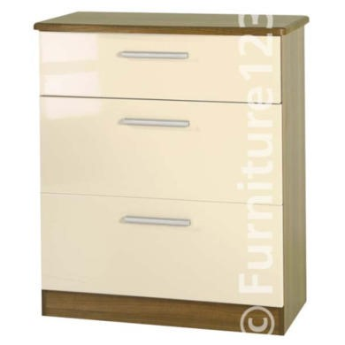 Welcome Furniture Hatherley High Gloss 3 Drawer Chest in Oak and Cream