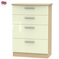 Knightsbridge High Gloss Large 4 Drawer Chest in Oak and Cream