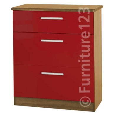 Welcome Furniture Hatherley High Gloss 3 Drawer Chest in Oak and Red