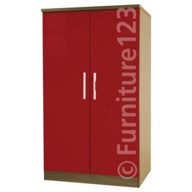 Welcome Furniture Hatherley High Gloss 2 Door Low Wardrobe in Oak and Red