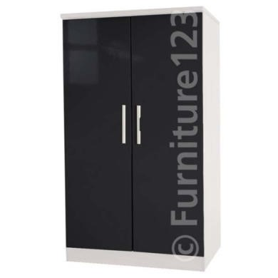 Welcome Furniture Hatherley High Gloss 2 Door Low Wardrobe in White and Black
