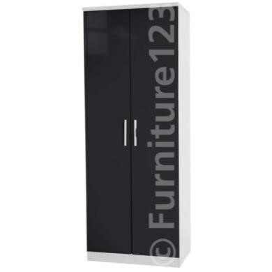 Welcome Furniture Hatherley High Gloss 2 Door Wardrobe in White and Black
