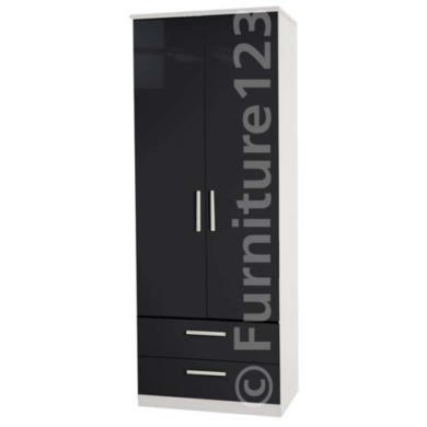Welcome Furniture Hatherley High Gloss 2 Drawer 2 Door Wardrobe in White and Black