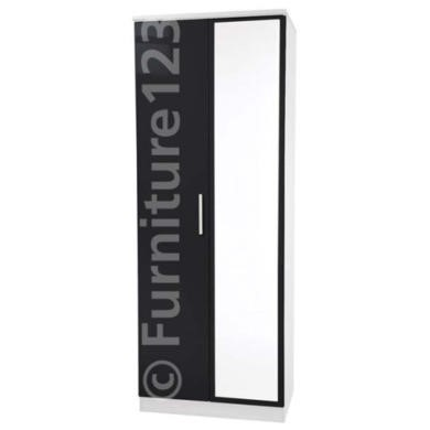 Welcome Furniture Hatherley High Gloss 2 Door Mirrored Wardrobe in White and Black