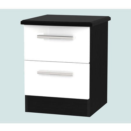 Knightsbridge 2 Drawer Bedside Chest in White and Black High Gloss
