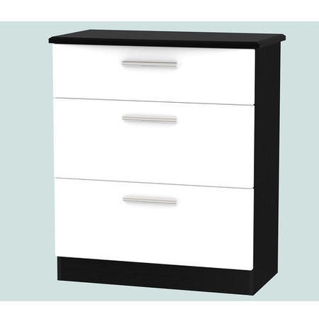 Knightsbridge 3 Drawer Chest In White And Black High Gloss