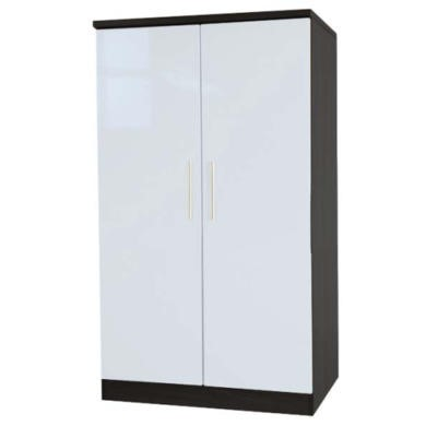 Welcome Furniture Hatherley High Gloss 2 Door Low Wardrobe in Black and White