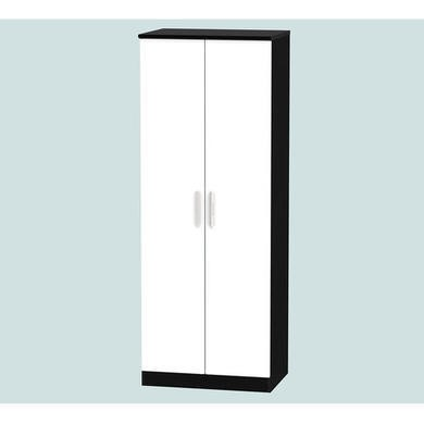 Welcome Furniture Hatherley High Gloss 2 Door Wardrobe in Black and White