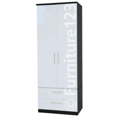Welcome Furniture Hatherley High Gloss 2 Drawer 2 Door Wardrobe in Black and White
