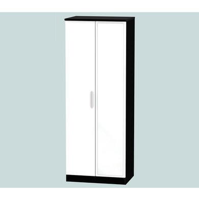 Welcome Furniture Hatherley High Gloss 2 Door Mirrored Wardrobe in Black and White
