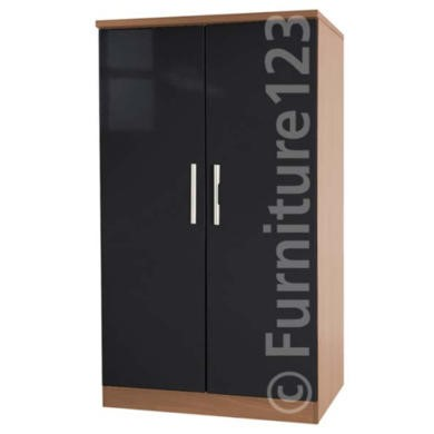 Welcome Furniture Hatherley High Gloss 2 Door Low Wardrobe in Oak and Black