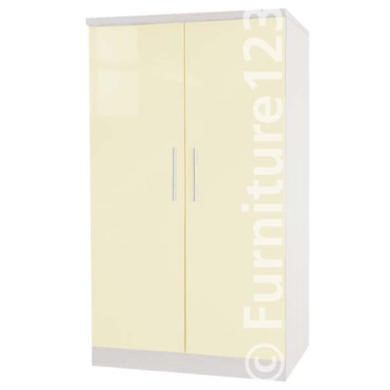 Welcome Furniture Hatherley High Gloss 2 Door Low Wardrobe in White and Cream