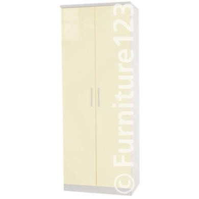 Welcome Furniture Hatherley High Gloss 2 Door Wardrobe in White and Cream