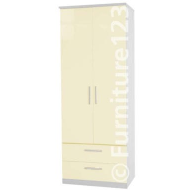 Welcome Furniture Hatherley High Gloss 2 Drawer 2 Door Wardrobe in White and Cream