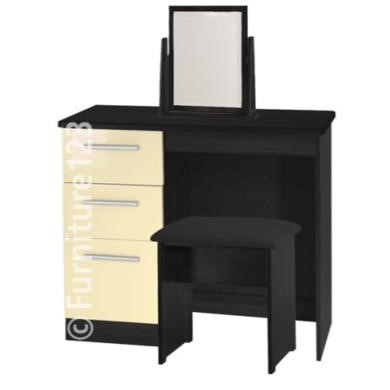 Welcome Furniture Hatherley High Gloss Small Dressing Table in Black and Cream