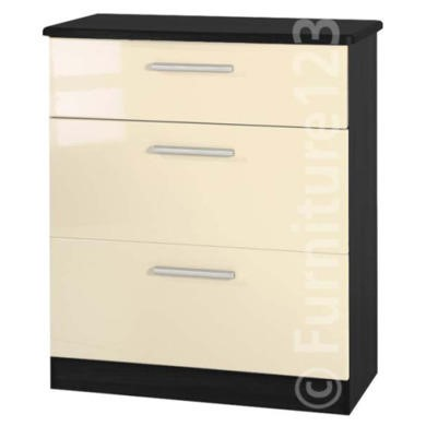 Welcome Furniture Hatherley High Gloss 3 Drawer Chest in Black and Cream