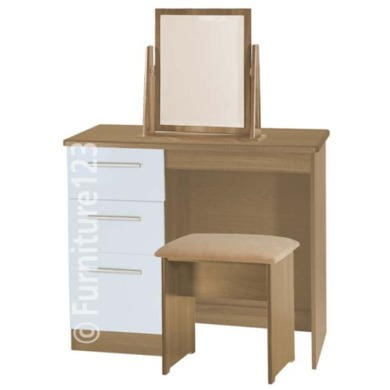 Welcome Furniture Hatherley High Gloss Small Dressing Table in Oak and White