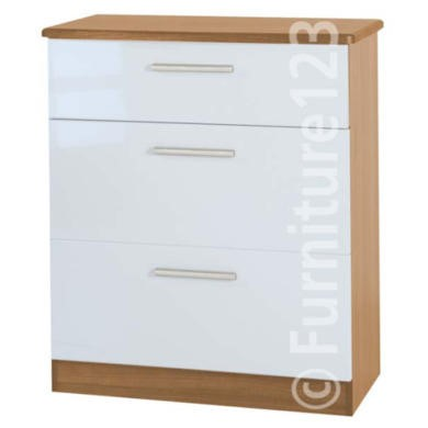 Welcome Furniture Hatherley High Gloss 3 Drawer Chest in Oak and White