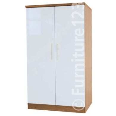 Welcome Furniture Hatherley High Gloss 2 Door Low Wardrobe in Oak and White