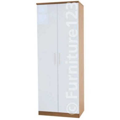 Welcome Furniture Hatherley High Gloss 2 Door Wardrobe in Oak and White